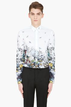 MCQ ALEXANDER MCQUEEN white Oversized Floral button-down Shirt