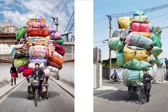 French photographer Alain Delorme became fascinated by the piles of stacked products migrant Chinese workers loaded into their bicycles. The precariously overloaded packages often assume unusual forms. His documentation of the packed bicycles forms a series of photographs entitled Totems, which are both aesthetically glorious and astoundingly indicative of daily life in China.  The images were captured during two art residencies in Shanghai throughout 2009 and 2010.