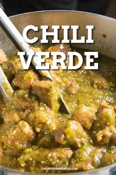 Authentic Chile Verde Green pork chili is a super flavorful Mexican dish made with pork shoulder simmered in a salsa verde. Easy to make on the stove or in a crock pot. Spicy Recipes, Meat Recipes, Mexican Food Recipes, Chicken Recipes, Cooking Recipes, Recipes With Pork, Mexican Pork Dishes, Tomatillo Recipes, Mexican Desserts