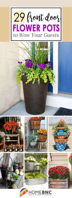 Front door flower pots are the perfect way to show your love of plants if you have little or no yard for a garden. See the best ideas and designs! #GardeningIdeas