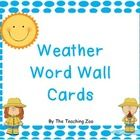 Weather Word Wall Cards Hang on your word wall to display 10 word wall words that go with the Weather theme. This work is licensed under a Cre. Beginning Of Kindergarten, Homeschool Kindergarten, Homeschooling, Weather Words, Weather Unit, Preschool Weather, Weather Activities, Spring School, Calendar Time