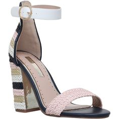 Miss KG Ebony Block Heeled Sandals ($44) ❤ liked on Polyvore featuring shoes, sandals, metal comb, ankle strap sandals, block heel shoes, sports sandals, ankle strap high heel sandals and block-heel sandals