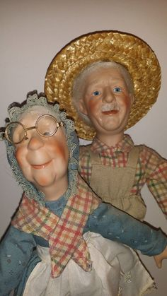 Up for auction is a Doll Vintage Grandpa Grandma 15Collections Etc Boy Girl Doll Collectible Statue. Used Condition with some vintage wear