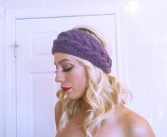Cable headband in dark mauve yarn hairband by HandmadeTrend Hairband, Designer Bags For Less, Crochet Gloves, Headband Styles, Scarf Hairstyles, Knit Fashion, Ear Warmers, Bandeau, Knitted Blankets