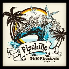 Classic PIPELINE Surfboards vintage design from 1979,