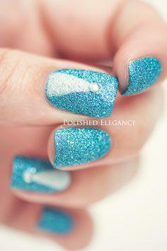 Sparkley turquiose blue nail polish