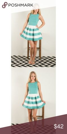 Fit N Flare Mint Dress Brand new, boutique color block fit n flare dress in mint color. Super cute and flattering!Comes in original, unopened packaging. 65% rayon, 35% nylon. S, M & L sizes available -- select your size at checkout!  Fits true to size. **no trades** Dresses Mini