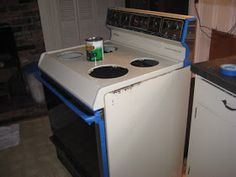 How To Revamp Your Kitchen On A Budget. Use Appliance Enamel Paint. Pick Your Color And Spray Or Roll It On. Inexpensive And Quick Fix.