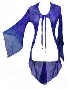 Dark Star Blue & Purple Tie Dye Gothic FishNet Hooded Long Jacket [DS/JK/7055BluePurp] - $55.99 : Mystic Crypt, the most unique, hard to find items at ghoulishly great prices!