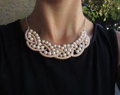 Braided Pearl Collar Bib Gold Statement Necklace