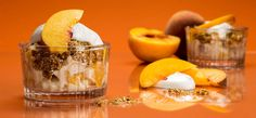 """Georgia fresh, juicy-sweet peaches baked into a cinnamon-spiced, """"granola"""" crumble and topped with cool cream."""