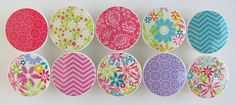 Summer Fun Floral Knobs- Bright Green, Blue, Pink, Purple Turquoise Flower and Chevron Drawer Knobs- Wood Knobs 1 1/2 Inches - Set of  10