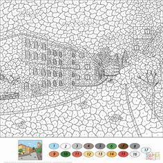Color by Number Advanced Coloring Pages New Old town Street Color by Number