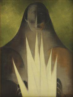 Ricardo Martínez.  Mujer con espigas.  Óleo sobre tela.  Con número de registro RM-66019.