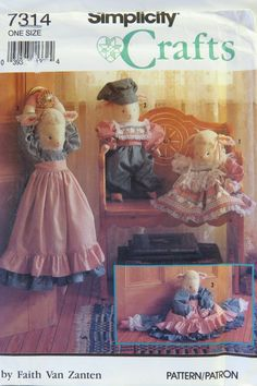 Simplicity 7314  Lamb Doll and Draft Stopper with Clothes