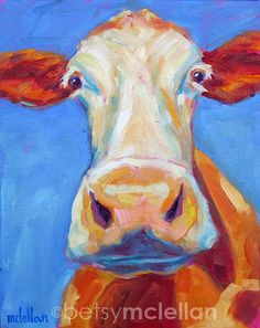 Cow Original Painting 8x10 by betsymclellanstudio on Etsy, $55.00
