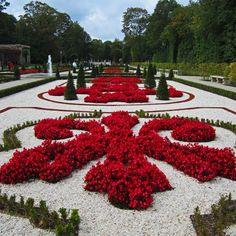 Wilanów Palace beautiful garden, Warsaw, Poland