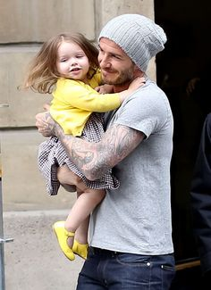 David Beckham with Harper Seven  celebrating his 38th birthday