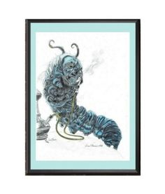 Absolem caterpillar drawing, Alice in wonderland, Hookah-Smoking Caterpillar art