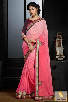 Go ahead with your unique style in this latest pink color georgette designer embroidery saree with discount deal. Buy online beautiful pink color designer georgette saree for Karwa Chauth and Diwali festival 2015-2016. Diwali Special Discount Offer:  5% OFF FOR Buy 1 Product 10% OFF FOR Buy 2 Product 15% OFF FOR Buy 3 Product or more #designersaree, #weddingsaree, #partywearsaree, #festivalsaree, #pavitraafashion http://www.pavitraa.in/store/party-wear-saree/ callus: +91-7698234040