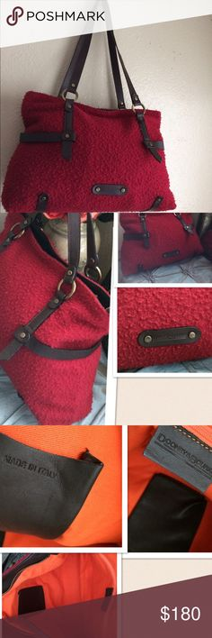Dooney & Bourke Italian Wool Handbag Dooney & Bourke Wool Leather trim Handbag. Detailed leather straps with trimmings. Orange inner lining. 1 inner zipper compartment. Dooney & Bourke Bags Shoulder Bags