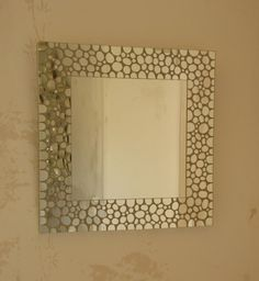 Miroir Carré, Tout En Mosaïque De Miroir Argent. Morceaux Découpés En Forme  De Petits