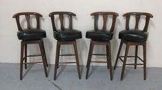 Set Of 4 Mid Century Modern Swivel Bar Stools