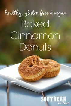 """""""Healthy Vegan Baked Cinnamon Donuts Recipe - Gluten free, low fat, low sugar, egg free, dairy free"""" This recipe gives a lot of options depending on what your food lifestyle is. Donuts Vegan, Gluten Free Donuts, Gluten Free Baking, Vegan Gluten Free, Baked Donuts, Vegan Foods, Vegan Desserts, Vegan Recipes, Cooking Recipes"""