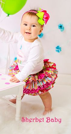 Patchwork & Polka Dots Ruffled Bloomer Skirt Four Ruffle All Around Ruffle Sassy Pants Ruffled by Sherbet Baby