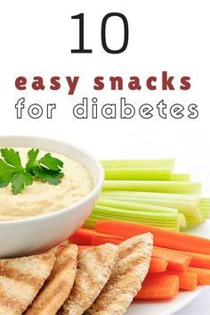 Snacks are an important part of a type 2 diabetes diet to help manage weight and control blood sugar. Three recommendations for good diabetes snacks: Stick to between 15 and 45 grams of carbohydrates per diabetes snack choose 100 percent whole grains an Healthy Snacks For Diabetics, Quick Snacks, Yummy Snacks, Recipes For Diabetics, Diabetic Recipes, Diet Recipes, Healthy Recipes, Diabetic Snacks Type 2, Easy Diabetic Meals