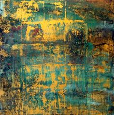 Makoto Fujimura. Malachite Gold mineral pigment on paper 22 x 22. http://www.laureltraceygallery.com/artists/mf.paintings.php