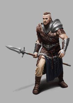 m Ranger Med Armor Cloak Spear ArtStation - viking style , jong-kyo jeong Fantasy Heroes, Fantasy Male, Fantasy Armor, Medieval Fantasy, Viking Character, Character Concept, Character Art, Concept Art, Fantasy Portraits