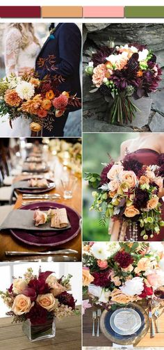 Vintage Burgundy and Peach Fall Wedding Color Inspirations for 2017