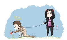 Ok this is the best thing I've seen so far with SPN. Cas and Meg <3