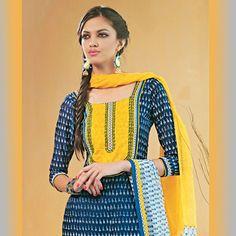 Blue Cotton Churidar Kameez + hair