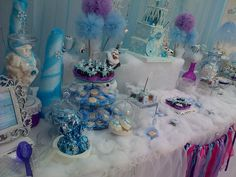 Dessert table at a Frozen girl birthday party! See more party ideas at CatchMyParty.com!