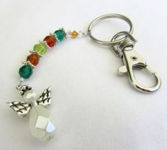 Angel Keychain Crystal Bead Key Chain Brown by EarthlieTreasures, $8.95