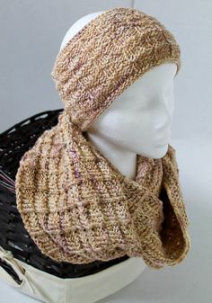 Knit Bamboo/Wool Blend Infinity Scarf/Cowl with Headband