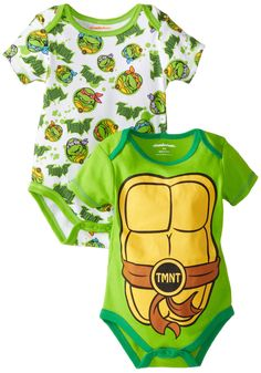 Nickelodeon Baby Baby-Boys Newborn Ninja Turtle 2 Pack Bodysuit Set with Muscles, Green, 6-9 Months