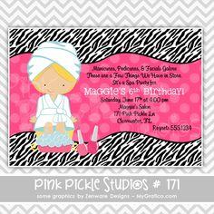 Zebra Spa Party Printable Party Invitation-Zebra Spa Printable Birthday Invitation, diy, pamper, manicure, pedicure, pedi, mani