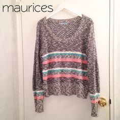 "Maurice's Long Sleeve Sweater NWOT, Maurice's Long Sleeve Sweater, size XXL or 18. Approx 26"" long, sleeves 28"". Colors are black, white, grey, light coral and mint. Light to medium weight. Perfect for Spring!!  Still has XXL sticker, never worn. #plussize Maurices Sweaters"