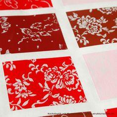 Kacheloptik mit roten Farbtönen und verschiedenen Musterwalzen. Tile look with red colours and various pattern rollers. Aspect carrelage avec des couleurs rouges et divers rouleaux à motifs.  #Kacheln #Kacheloptik #gekachelt #tiles #tilelook #tiled #carrelage #Piastrelle #blumen #blumenmuster #blütenmuster