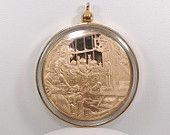 Pristine Solid Bronze Christmas Coin Gold Pendant Rare Limited Edition