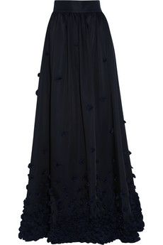 Temperley London Ruffle-appliquéd satin maxi skirt | THE OUTNET -- fun style, but a little too dark.