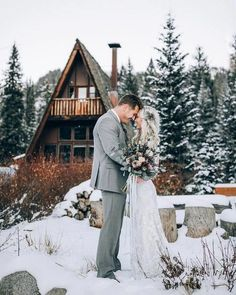 Are you getting married during one of the winter months? If so, you may be searching for inspiration for your wedding to ensure that it turns out as perfect as possible. There are some great winter wedding reception ideas to consider. These ideas could. Winter Mountain Wedding, Snowy Wedding, Winter Wonderland Wedding, Christmas Wedding, Dream Wedding, Winter Wedding Snow, Wedding In The Snow, Log Cabin Wedding, Outdoor Winter Wedding