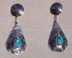 VTG HANDCRAFTED STERLING SILVER TURQUIOISE EARRINGS, SOUTHWESTERN, PIERCED POST #Post