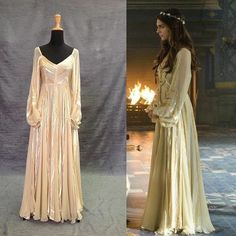 What I would do to get this dress in a faint silver gray! Kenna wears this dress on Reign season 1 Medieval Fashion, Medieval Dress, Lady Kenna, Reign Tv Show, Reign Dresses, Reign Fashion, Corset Costumes, Indian Designer Outfits, Vogue