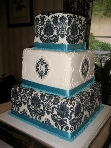 Teal, black and white wedding cake