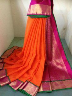 Orange Chiffon with kancheepuram silk border and pallu Soft Silk Sarees, Chiffon Saree, Saree Dress, Ethnic Sarees, Indian Sarees, Indian Attire, Indian Ethnic Wear, Indian Dresses, Indian Outfits