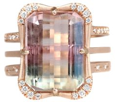 Limited-run Effigy ring with 13.75 ct. tricolor tourmaline and 0.28 ct. t.w. diamonds in 14k rose gold; $9,950; Sirciam Jewelry, Los Angeles; 310-482-9602; sirciam.com
